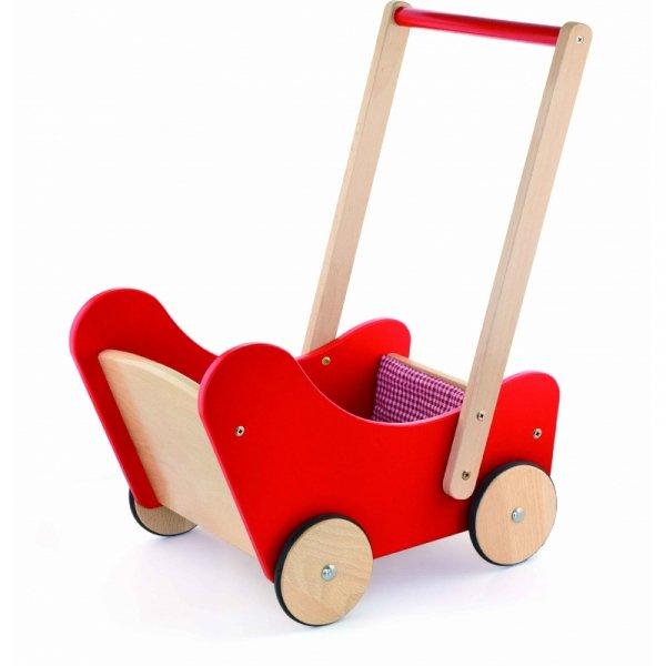 Drewniany wózek dla lalek Pchacz Ciche Koła Viga