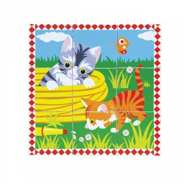 Układanka Drewniana Puzzle Viga Toys 6 Klocków 6 Obrazków Farma