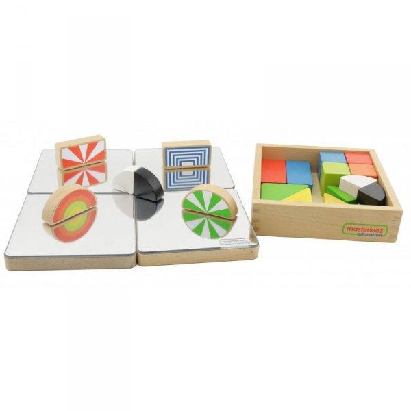 Zestaw Kolorowe Klocki Dla Dzieci Drewniane 24 Sztuki Masterkidz