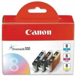 Canon oryginalny wkład atramentowy / tusz CLI8CMY. cyan/magenta/yellow. 0621B029. 0621B026. Canon iP4200. iP5200. iP5200R. MP500. MP800 0621B029