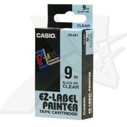 Casio oryginalna taśma do drukarek etykiet. Casio. XR-9X1. czarny druk/przezroczysty podkład. nielaminowany. 8m. 9mm