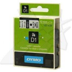Dymo oryginalna taśma do drukarek etykiet. Dymo. 45013. S0720530. czarny druk/biały podkład. 7m. 12mm. D1