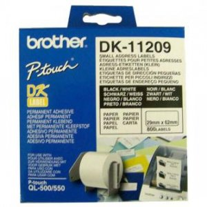 Brother etykiety papierowe 29mm x 62mm. biała. 800 szt.. DK11209. do drukarek typu QL DK11209