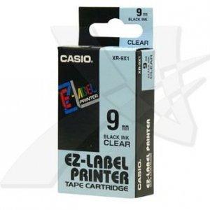 Casio oryginalna taśma do drukarek etykiet. Casio. XR-9X1. czarny druk/przezroczysty podkład. nielaminowany. 8m. 9mm XR-9X1