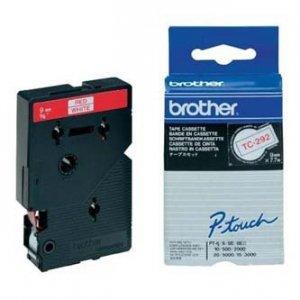 Brother oryginalna taśma do drukarek etykiet. Brother. TC-292. czerwony druk/biały podkład. laminowane. 7.7m. 9mm TC292