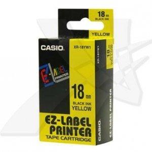 Casio oryginalna taśma do drukarek etykiet. Casio. XR-18YW1. czarny druk/żółty podkład. nielaminowany. 8m. 18mm XR-18YW1