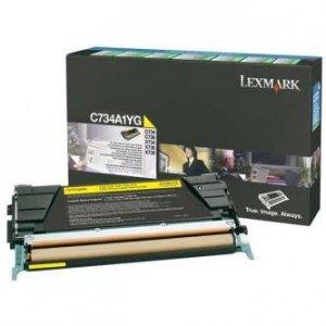 Lexmark oryginalny toner C734A1YG. yellow. 6000s. return. Lexmark C734. C736. X734. X736. X738 C734A1YG
