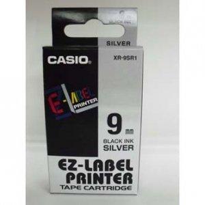 Casio oryginalna taśma do drukarek etykiet. Casio. XR-9SR1. czarny druk/srebrny podkład. nielaminowany. 8m. 9mm XR-9SR1