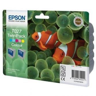 Epson oryginalny wkład atramentowy / tusz C13T027403. color. 220s. 46ml. 2szt. Epson Stylus Photo 810. 830. 925. 935 C13T02740310