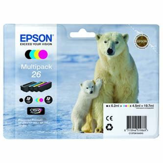 Epson oryginalny wkład atramentowy / tusz C13T26164020. T261640. CMYK. 3x4.5/6.2ml. Epson Expression Premium XP-800. XP-700. XP-600 C13T26164020