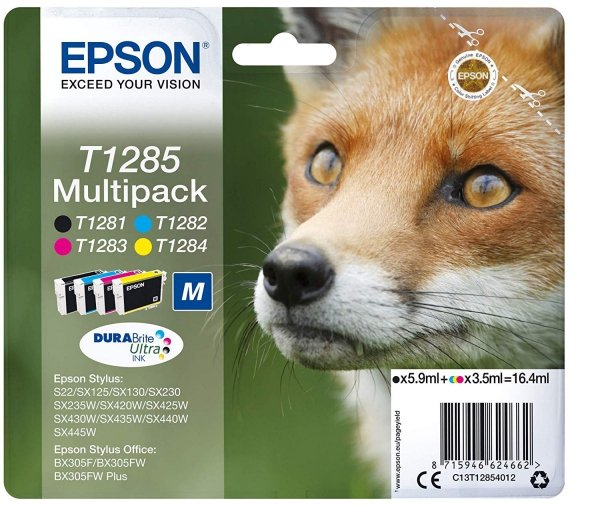 Epson oryginalny wkład atramentowy / tusz blistr. C13T12854022. T1285. CMYK. 16.4ml. Epson Stylus S22. SX125. 420W. 425W. Stylus Office BX305 C13T12854022