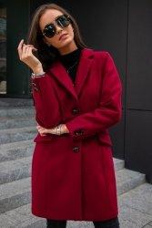 Płaszcz 0012 Bordowy Roco Fashion