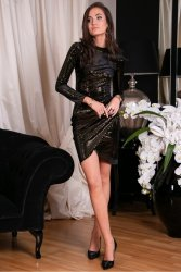 Sukienka 0262 Złota Roco Fashion