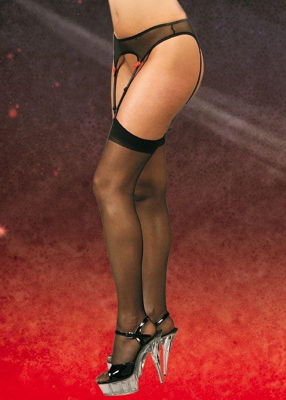 Stockings 5523 - black pończochy z pasem