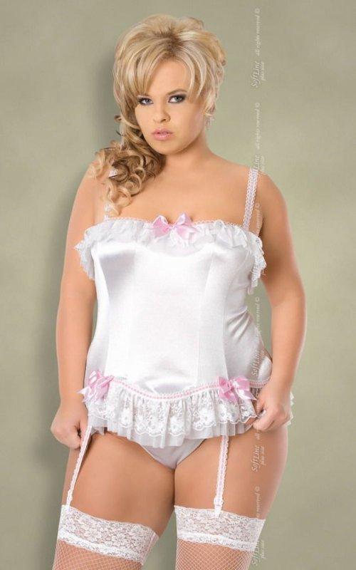 xSybil - Plus Size - white 1613 gorset i stringi