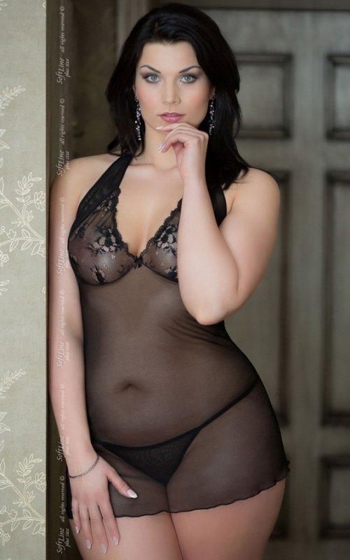 Marylin - Plus Size - black 1017 koszulka i stringi