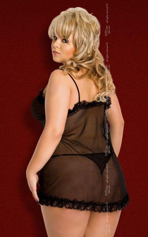 Kaya - Plus Size - black 1547 koszulka i stringi