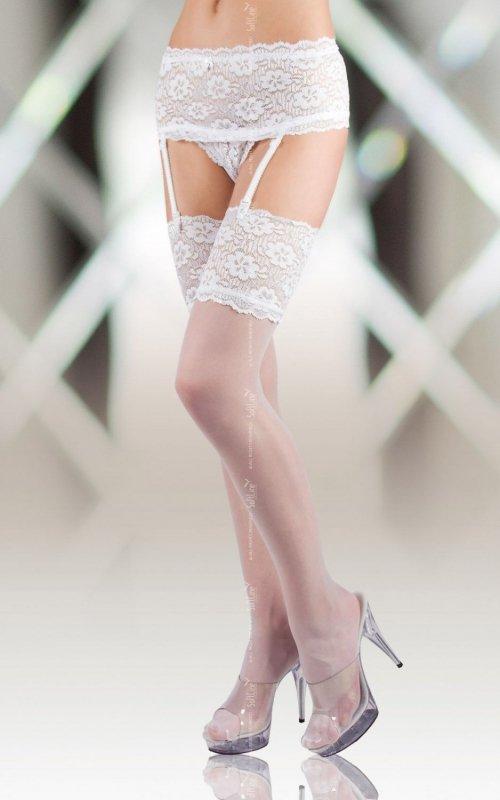 Stockings 5512 - white pończochy z pasem