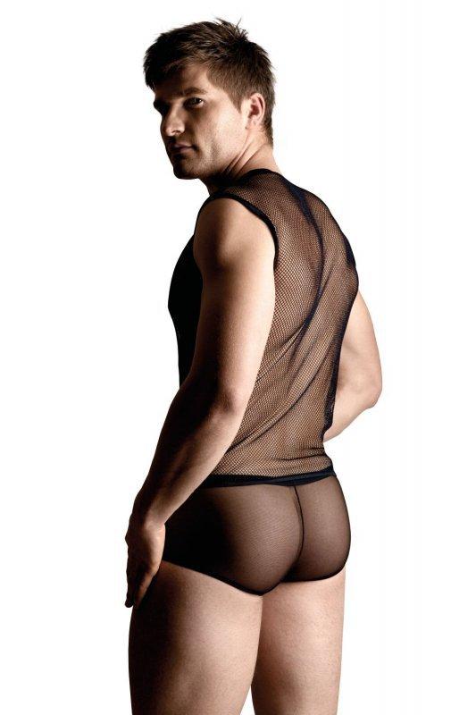 Net set - shirt and thong - black 4601