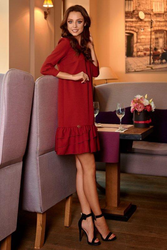 Klasyczna sukienka z falbanką L272 bordo