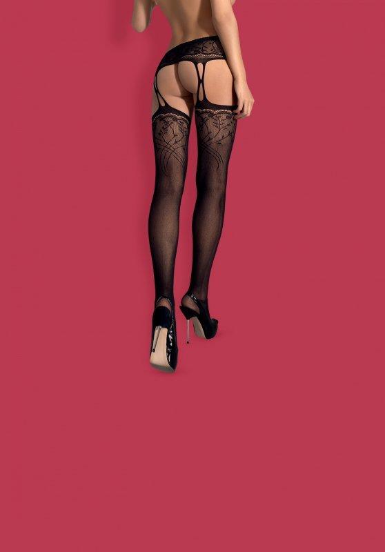 Garter stockings S206 czarne  S/M/L