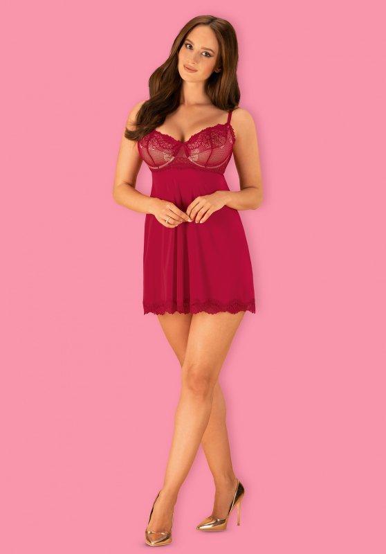 Rosalyne babydoll i stringi czerwona L/XL