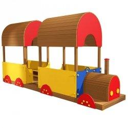 Lokomotywa z wagonem na plac zabaw
