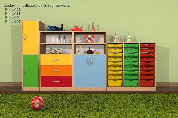 zestaw mebli przedszkolnych primo,primo 1,primo szafki,zestaw szafek primo,zestaw primo