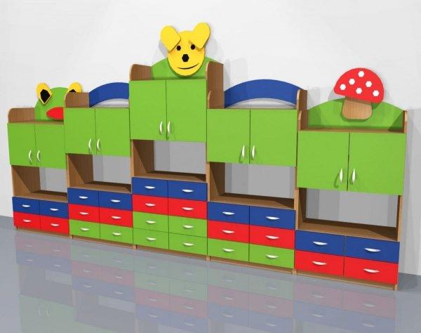 szafki przedszkolne, szafki przedszkolne z ozdobami, szafki tematyczne do przedszkola, szafka przedszkolna zabka, szafka przedszkolna grzybek, regał przedszkolny