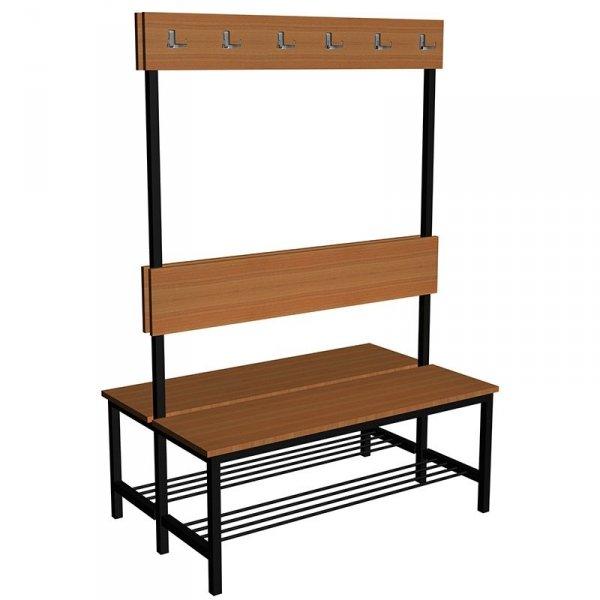 ławka szatniowo korytarzowa z półką na buty premium 2-str. z oparciem i wieszakiem 1m, 1,2m