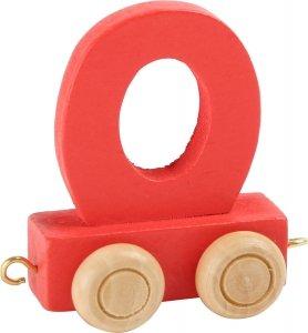 Dekoracja SMALL FOOT wagon do lokomotywy z literą O (kolor czerwony)