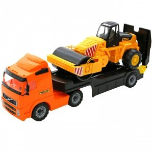 WADER Duża Ciężarówka z Przyczepą Laweta + Pojazd Walec Holownik
