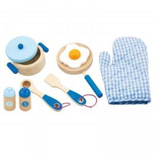 Drewniany Kuchenny Zestaw do gotowania Niebieski Viga Toys