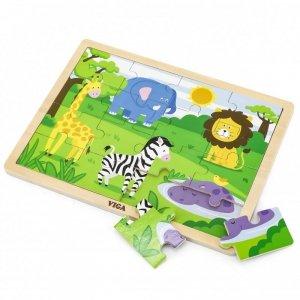 VIGA Drewniane Puzzle Safari 16 elementów