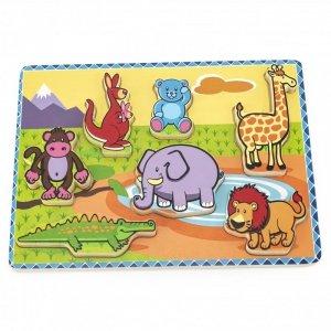 VIGA Grube Puzzle Dzikie Zwierzęta Dopasuj Kształty
