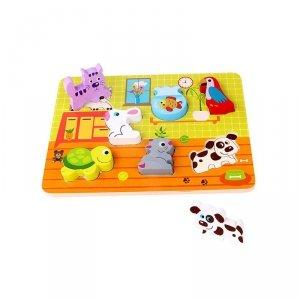 TOOKY TOY Grube Puzzle Zwierzęta Domowe Dopasuj Kształty