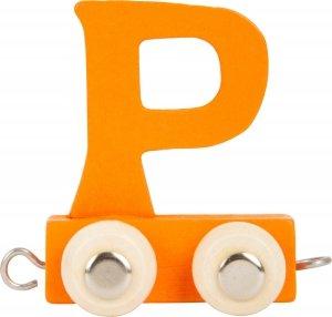 Dekoracja SMALL FOOT wagon do lokomotywy z literą P (kolor pomarańczowy)