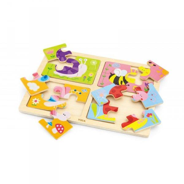 VIGA Drewniane Puzzle Owady 4w1