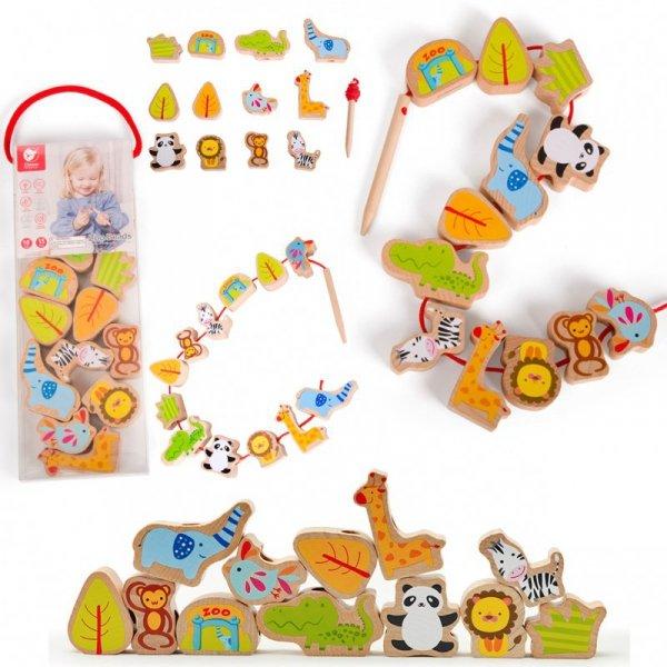 Sznurowanka Dla Dzieci Drewniane Koraliki Dla Dzieci ZOO Classic World