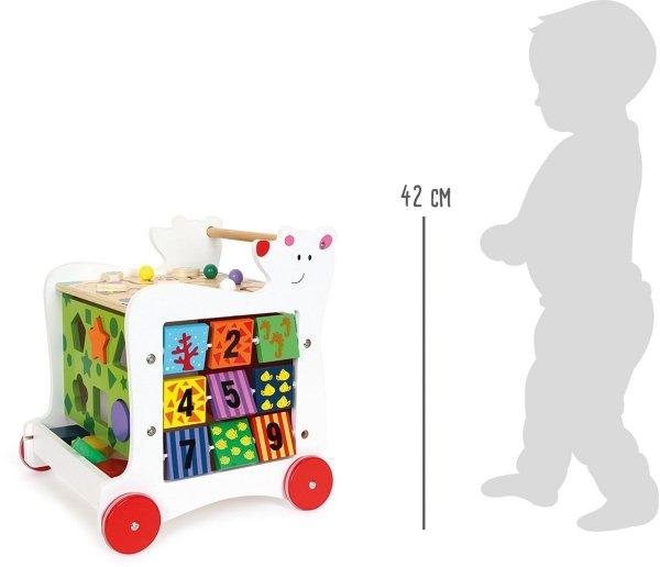 SMALL FOOT Bear Walker - Drewniany Chodzik Pchacz z Zabawkami