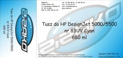 Tusz zamiennik Yvesso nr 83 UV do HP Designjet 5000/5500 680 ml Cyan C4941A