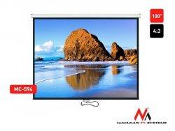 Maclean Ekran projekcyjny MC-594 100 4:3 200x150 auto-lock biały matowy ściana lub sufit