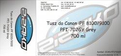 Tusz zamiennik Yvesso PFI-702GY Grey 700ml do Canon iPF8100 iPF9100 CF2221B001AA