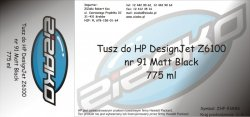 Tusz zamiennik Yvesso nr 91 do HP Designjet Z6100 775 ml Matt Black C9464A