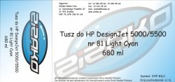 Tusz zamiennik Yvesso nr 81 do HP Designjet 5000/5500 680 ml Light Cyan C4934A
