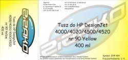 Tusz zamiennik Yvesso nr 90 do HP Designjet 4000/4020/4500/4520 (400 ml) Yellow C5065A