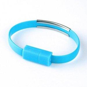 Global Technology KABEL USB iPhone 6/6s/5/5s BRANSOLETKA niebieska