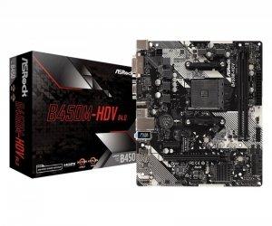 ASRock Płyta główna B450M-HDV R4.0 AM4 2DDR4 VGA/DVI/HDMI/M.2 uATX