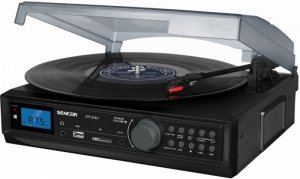 Sencor Gramofon STT 212U Cyfrowy tuner FM, USB/SD, MP3, BT