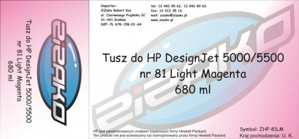 Tusz zamiennik Yvesso nr 81 do HP Designjet 5000/5500 680 ml Light Magenta C4935A